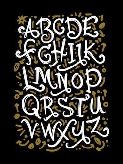 Ręcznie rysowane litery alfabetu kredy