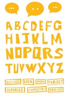 Ręcznie rysowane litery dekoracyjne kreskówka.