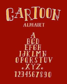 Ręcznie rysowane litery i cyfry alfabetu