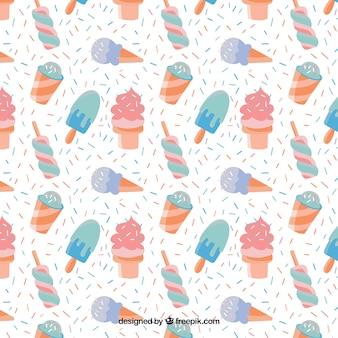 Ręcznie rysowane lody wzór w pastelowych kolorach