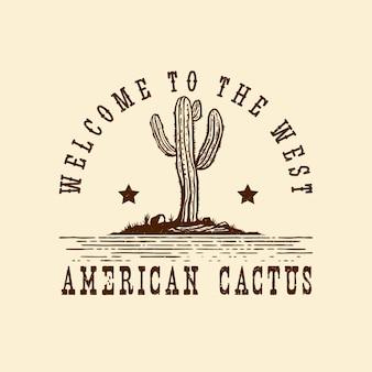 Ręcznie rysowane logo amerykańskiego dzikiego zachodu
