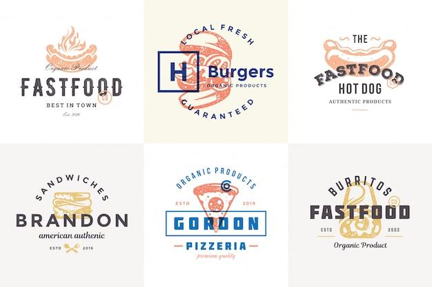 Ręcznie rysowane logo fast food i etykiety z nowoczesną typografią vintage w stylu retro zestaw ilustracji wektorowych.