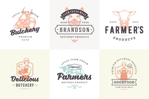 Ręcznie rysowane logo i etykiety zwierząt gospodarskich z nowoczesną typografią vintage ręcznie rysowane zestaw ilustracji wektorowych.