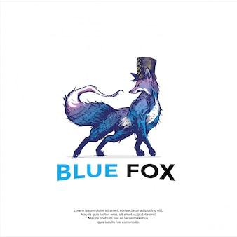Ręcznie rysowane logo lisa niebieskiego