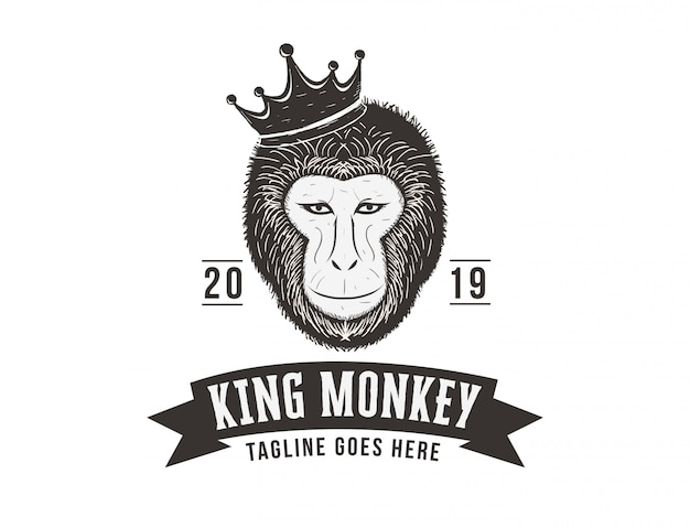 Ręcznie rysowane logo małpa króla