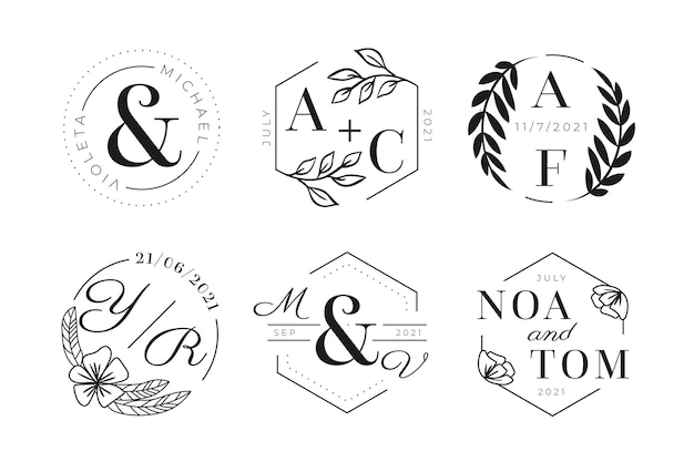 Ręcznie rysowane logo monogram ślubu