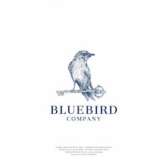 Ręcznie rysowane logo niebieski ptak