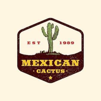 Ręcznie rysowane logo odznaka meksykański dziki zachód