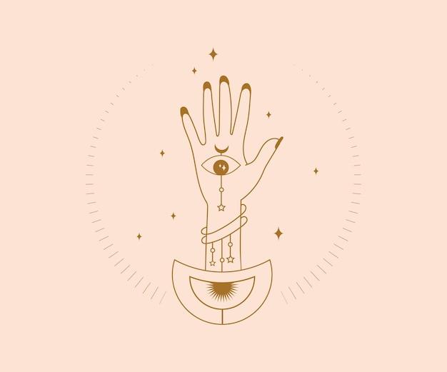 Ręcznie rysowane logo okultyzmu magiczne dłonie z ezoterycznymi mistycznymi elementami w oczach boga