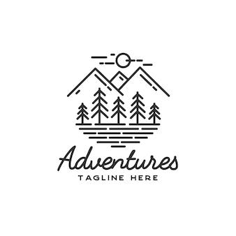 Ręcznie rysowane logo przygody
