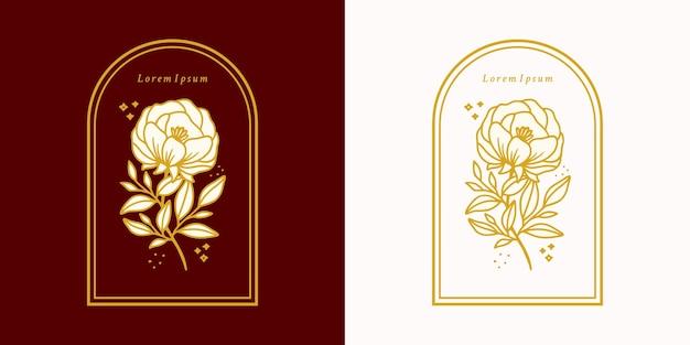 Ręcznie rysowane logo rocznika botanicznego kwiatu róży i element marki kobiecego piękna