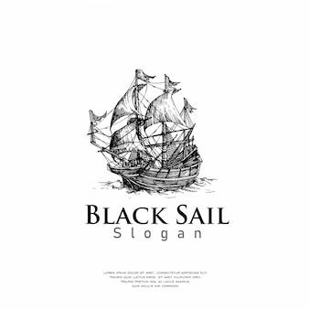 Ręcznie rysowane logo statku