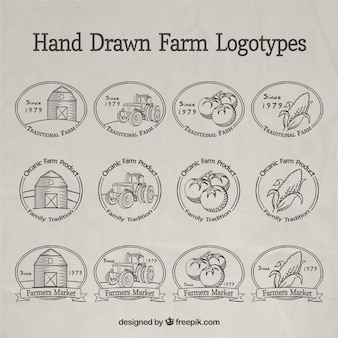 Ręcznie rysowane logotypy gospodarskie