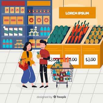Ręcznie rysowane ludzi kupujących w tle supermarketu