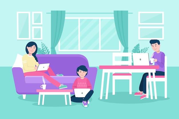 Ręcznie rysowane ludzi pracujących razem w domu
