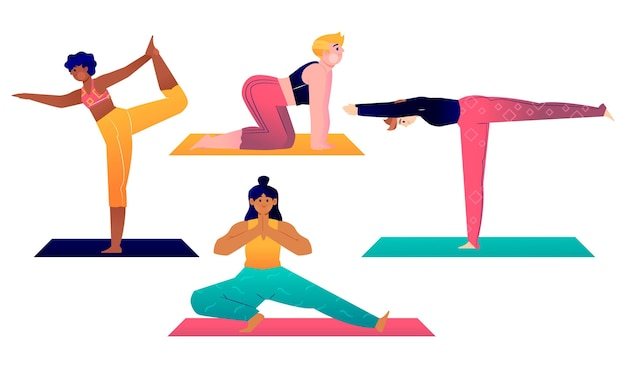 Ręcznie rysowane ludzi robi kolekcja jogi