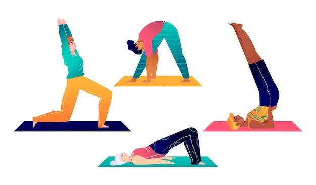 Ręcznie rysowane ludzi robi zestaw jogi