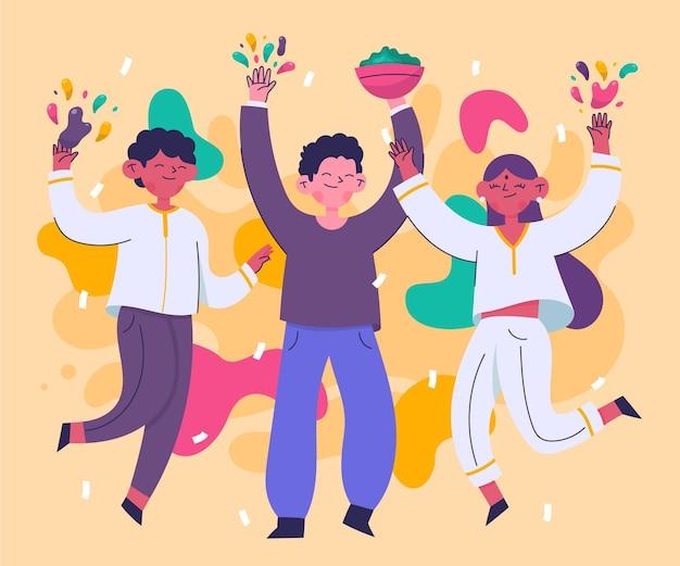 Ręcznie rysowane ludzi stojących w kolorach festiwalu holi
