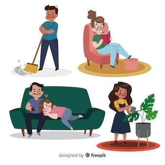 Ręcznie rysowane ludzi w domu kolekcji