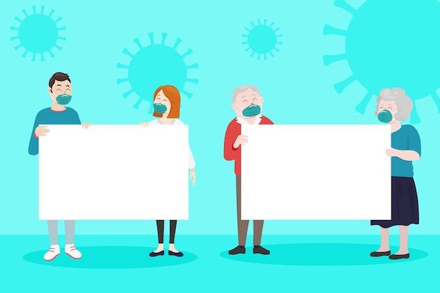 Ręcznie rysowane ludzi w maskach medycznych z tabliczkami