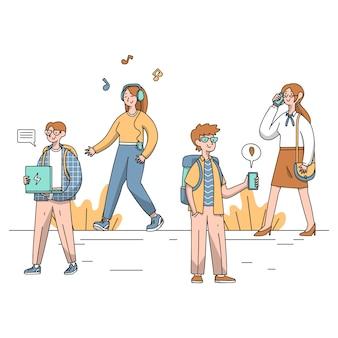 Ręcznie rysowane ludzi z kolekcji urządzeń technologii