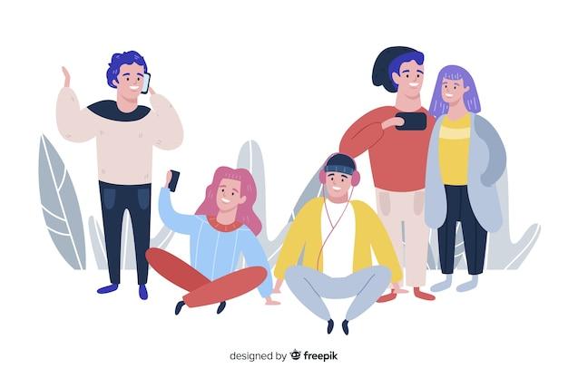Ręcznie rysowane ludzi za pomocą kolekcji smartfonów