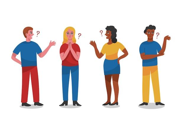 Ręcznie rysowane ludzi zadających pytania ilustracja