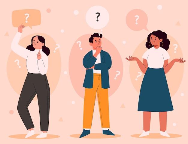 Ręcznie rysowane ludzi zadających pytania