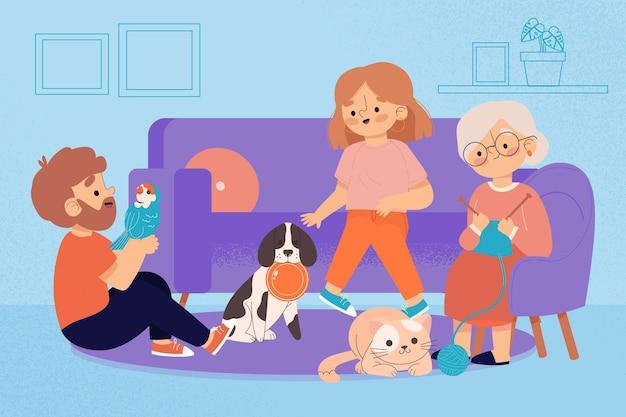 Ręcznie rysowane ludzi ze zwierzętami na kanapie