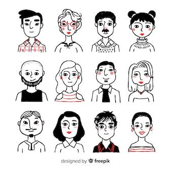 Ręcznie rysowane ludzie avatar paczka
