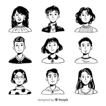 Ręcznie rysowane ludzie awatar paczka