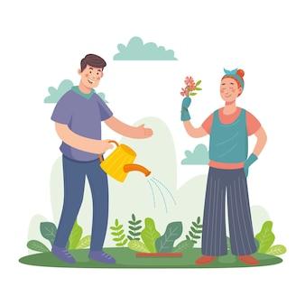 Ręcznie rysowane ludzie dbający o rośliny na zewnątrz