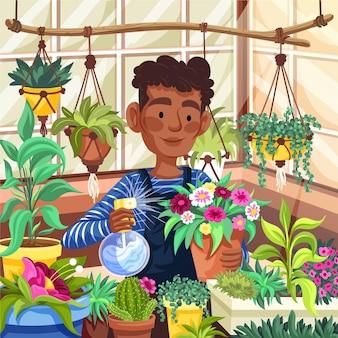 Ręcznie rysowane ludzie dbający o rośliny