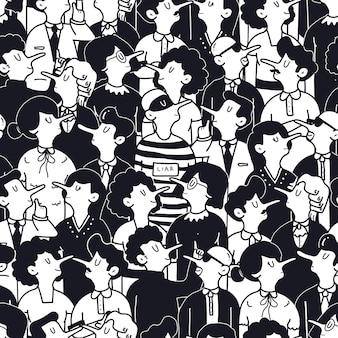Ręcznie rysowane ludzie ilustracja koncepcja bezszwowy wzór