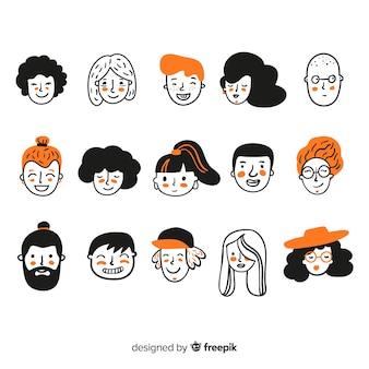 Ręcznie rysowane ludzie kolekcja avatar