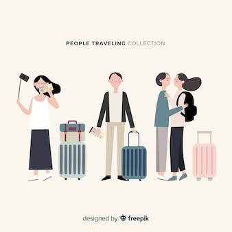 Ręcznie rysowane ludzie podróżujący kolekcja