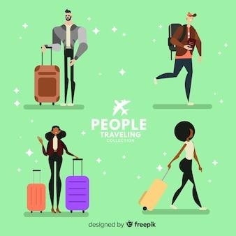Ręcznie rysowane ludzie podróżujących paczkę