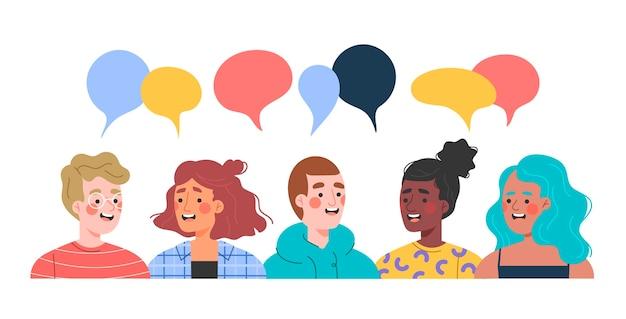Ręcznie rysowane ludzie rozmawiają ilustracje