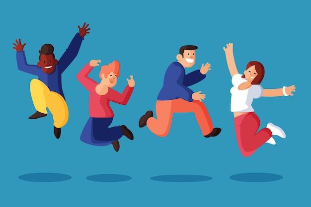 Ręcznie rysowane ludzie skaczący