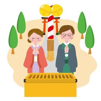 Ręcznie rysowane ludzie świętują hatsumode