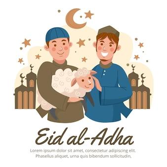Ręcznie rysowane ludzie świętują ilustrację eid al-adha