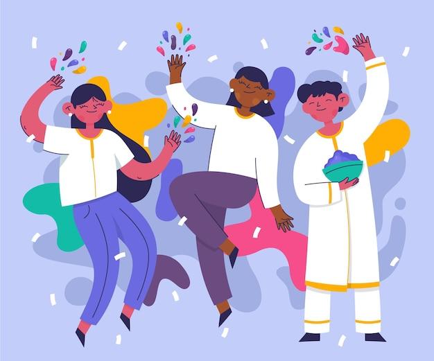 Ręcznie rysowane ludzie świętują w kolorach festiwalu holi