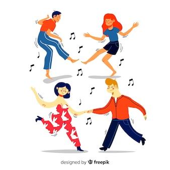 Ręcznie rysowane ludzie tańczą kolekcję