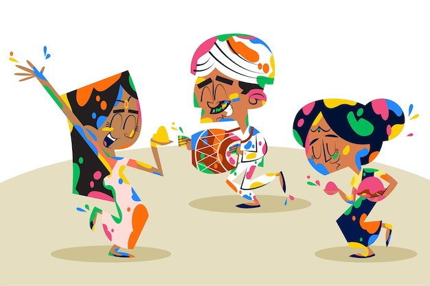 Ręcznie rysowane ludzie tańczą w kolorach festiwalu holi