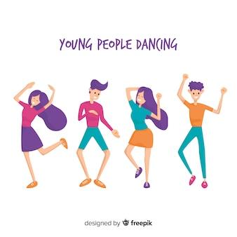 Ręcznie rysowane ludzie tańczą zestaw