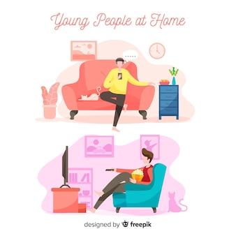 Ręcznie rysowane ludzie w domu pakują