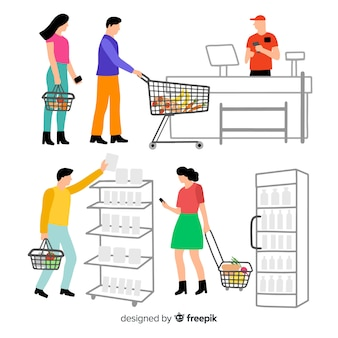 Ręcznie rysowane ludzie w kolekcji supermarketów