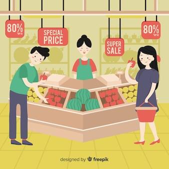 Ręcznie rysowane ludzie w supermarkecie