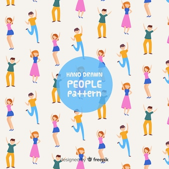 Ręcznie rysowane ludzie wzór