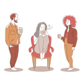Ręcznie rysowane ludzie z gorącymi napojami